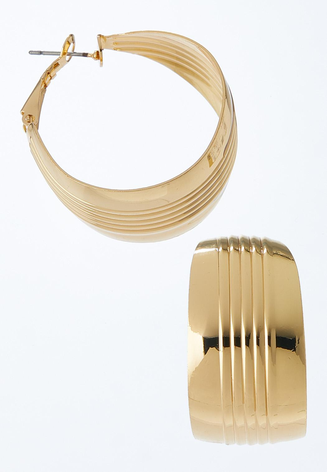 Grooved Gold Hoops