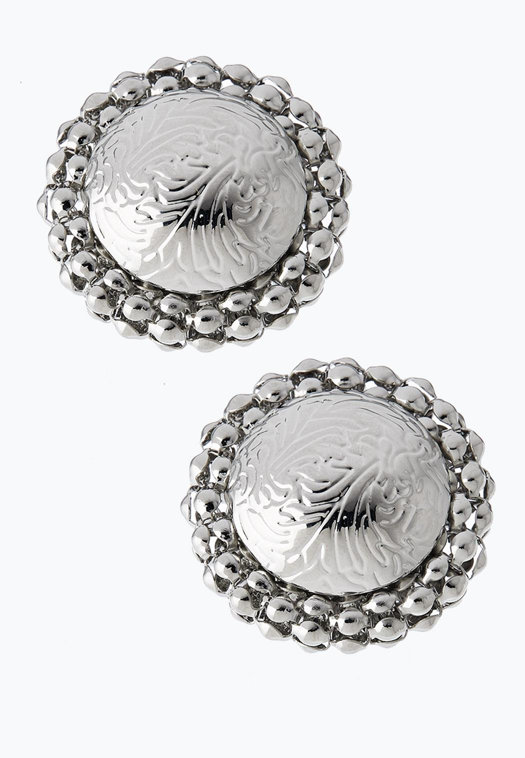 Large Silver Button Earrings