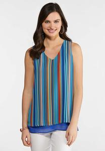 Plus Size Multi Stripe Layered Tank