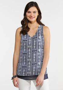 Plus Size Layered Navy Bandana Tank