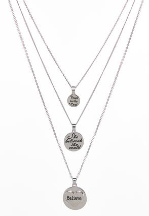Layered Inspirational Coin Necklace