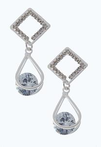 Cubic Zirconia Floating Stone Earrings