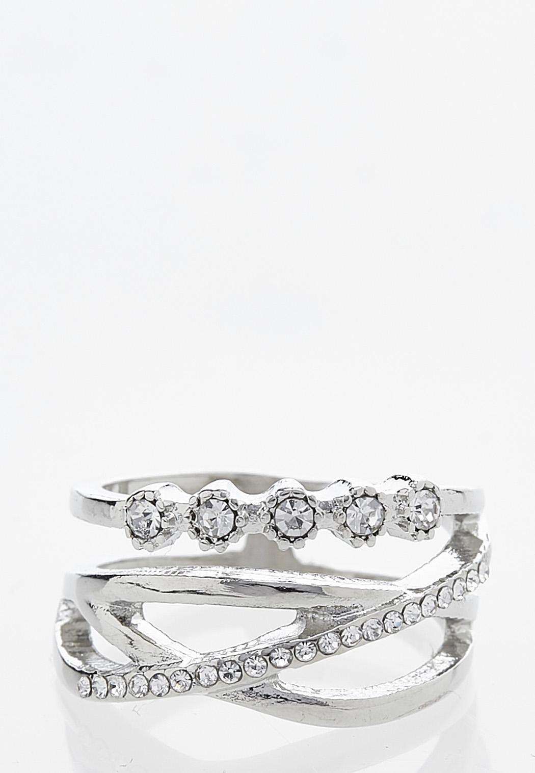 Rhinestone Crossband Ring