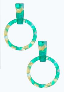 Marbleized Hoop Post Earrings