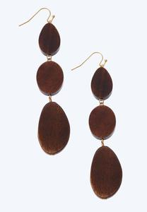 Tri Wood Dangle Earrings