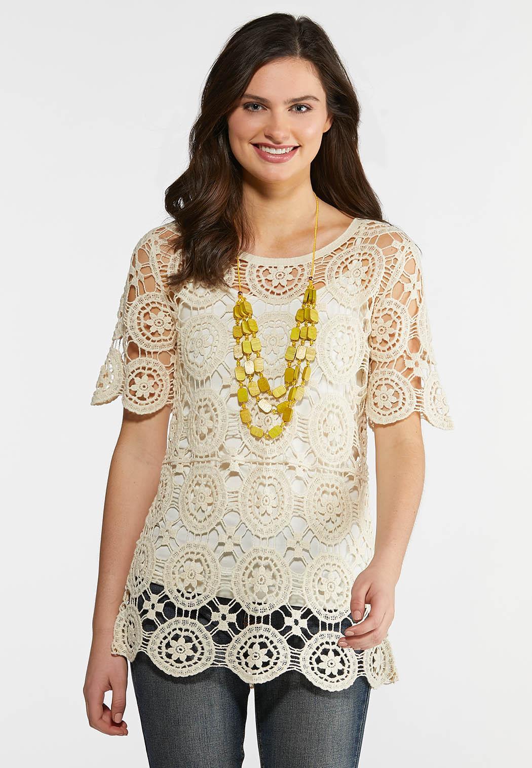 9b6d49e60f3d31 Plus Size Crochet Medallion Top Tops Cato Fashions
