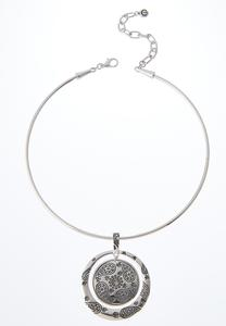 Etched Pendant Wire Necklace