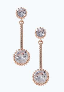 Rose Gold Linear Sparkle Earrings