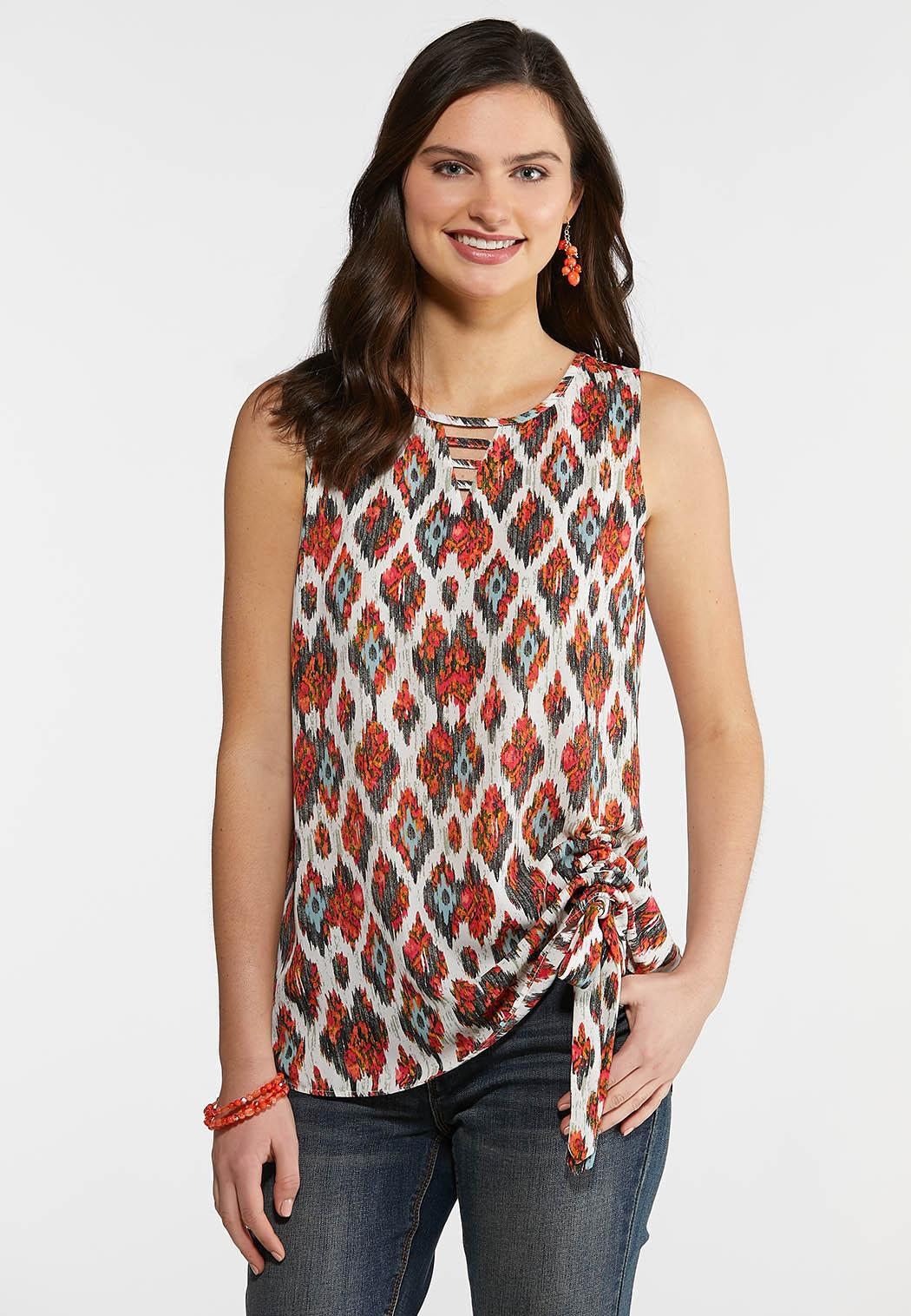 Plus Size Printed Side Cinched Tank