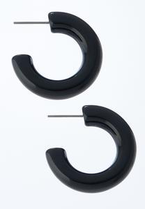 Black Acrylic Hoop Earrings