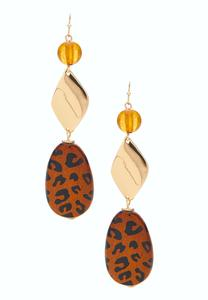 Wooden Safari Dangle Earrings