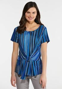 Blue Striped Tie Front Top