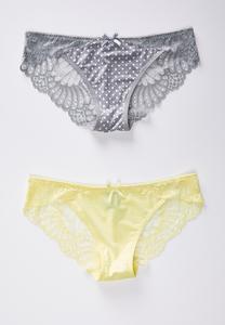Gray Dot Yellow Lace Panty Set