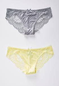 Plus Size Gray Dot Yellow Lace Panty Set