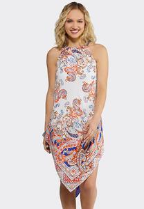 Plus Size Paisley Hanky Hem Dress