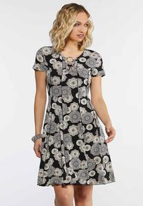Seamed Puff Medallion Dress