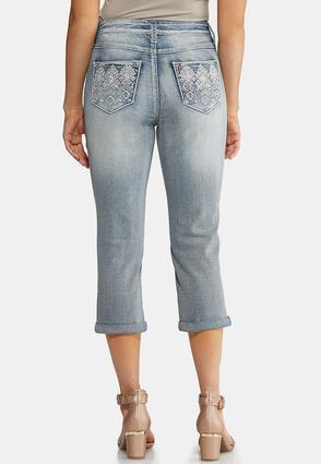 Cropped Geometric Bling Jeans