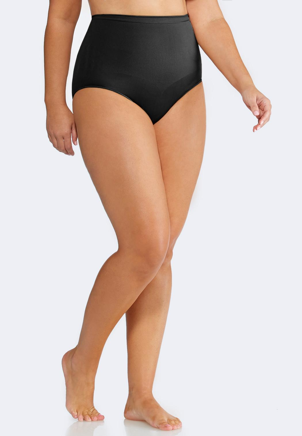 Plus Extended Black Seamless Control Panty
