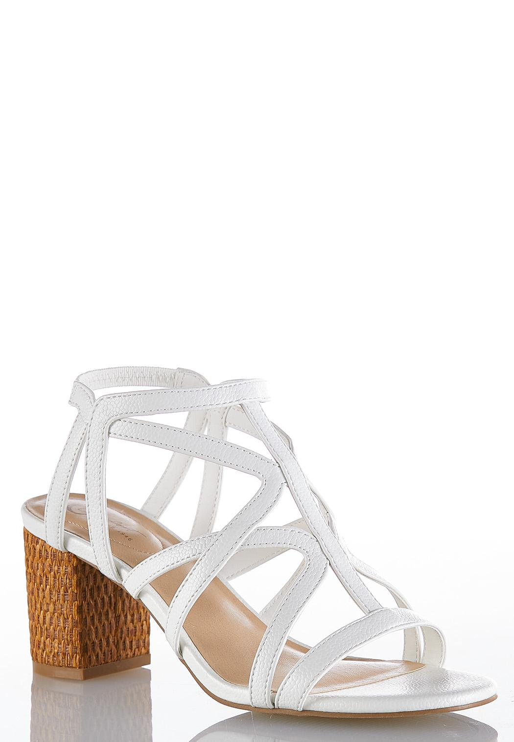 Wide Width Caged Woven Heel Sandals