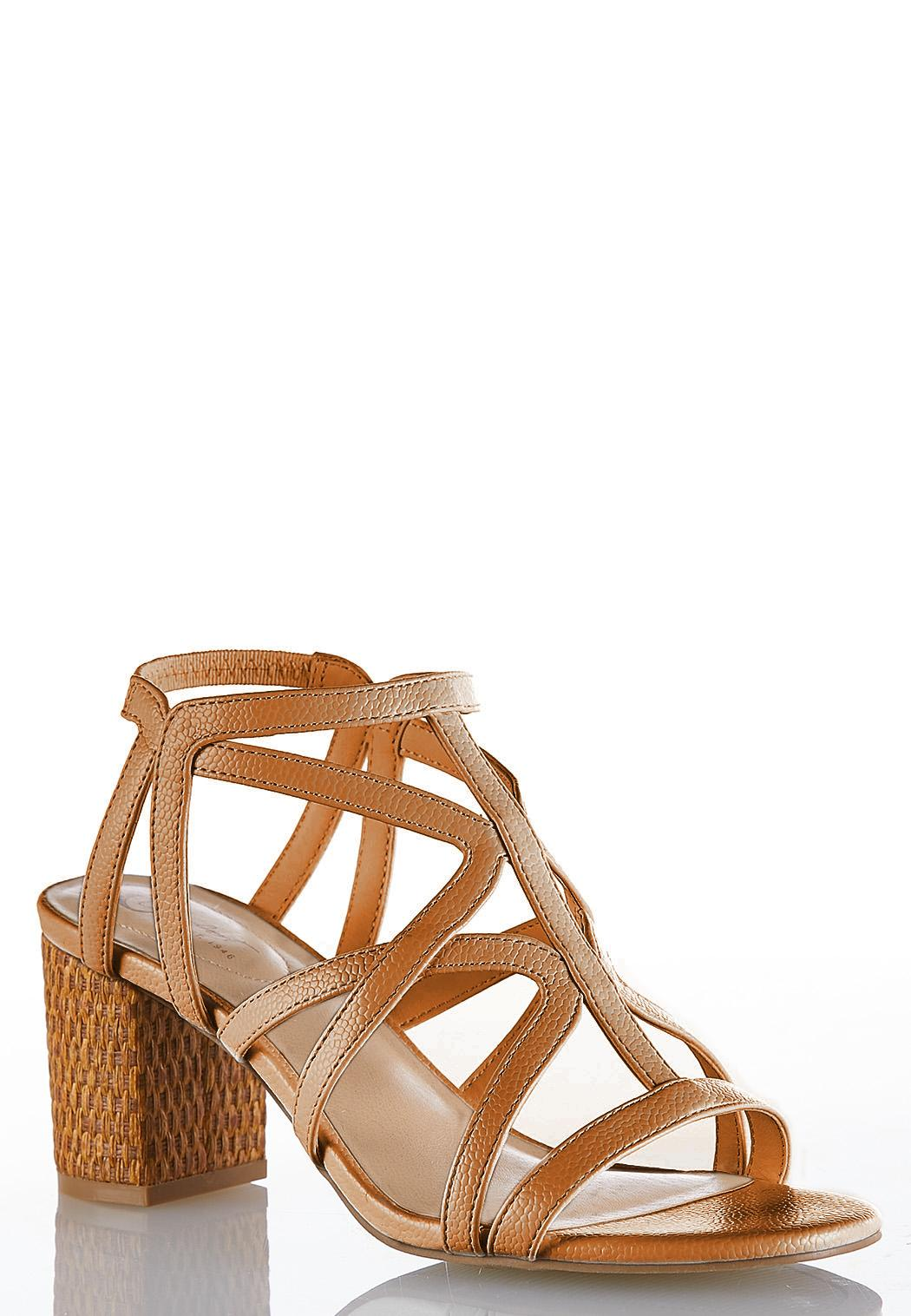 5e9f057699d7 Wide Width Caged Woven Heel Sandals Heels Cato Fashions