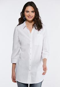 Split Hem White Poplin Shirt