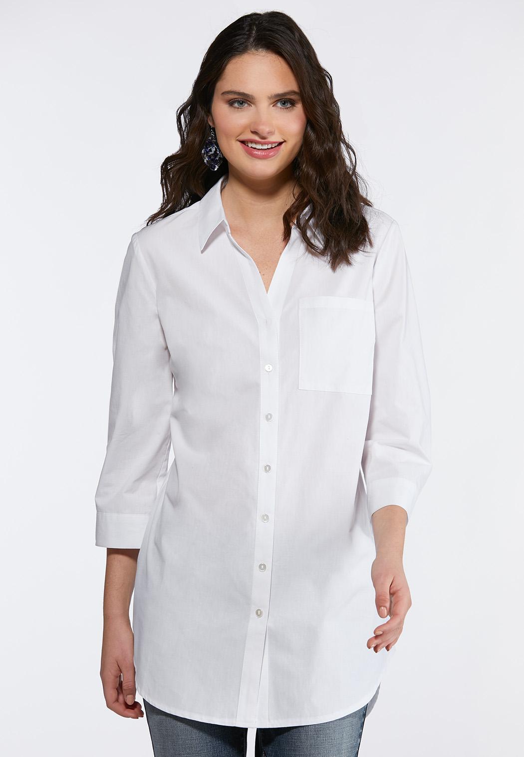 Plus Size Split Hem Poplin Shirt
