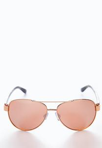 Rose Gold Floral Aviator Sunglasses
