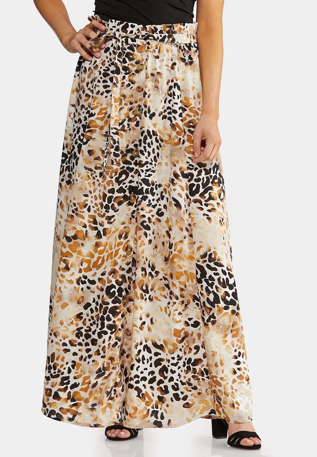 Leopard Button Front Maxi Skirt