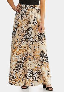 Leopard Button Front Maxi Skirt