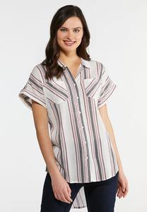 Plus Size Stripe Gauze Button Down Top