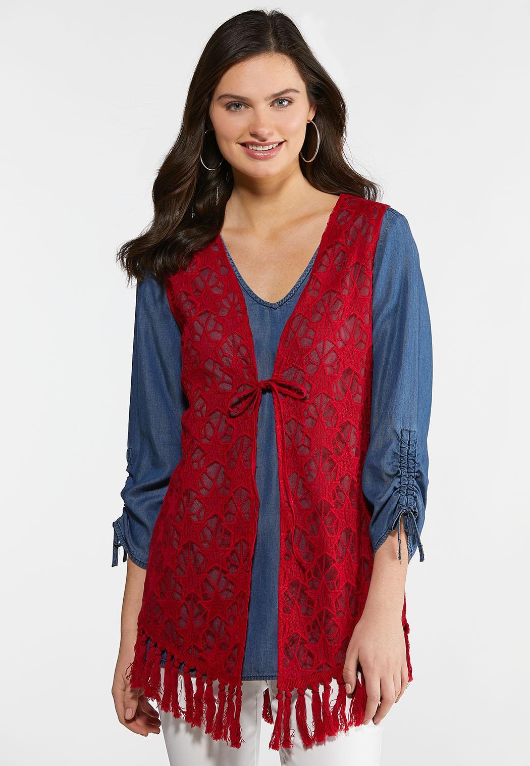 Star Embroidered Fringe Vest