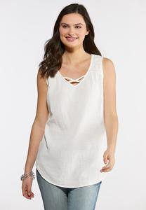 Plus Size Textured Criss Cross Tank