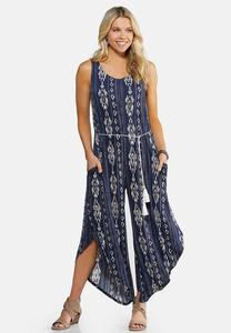 Plus Size Tie Waist Gypsy Jumpsuit