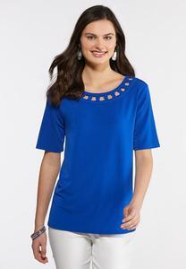 Plus Size Embellished Blue Top
