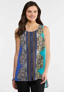 Medallion Stripe Flyaway Top