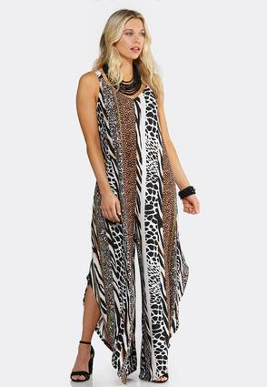 Lattice Back Animal Print Jumpsuit