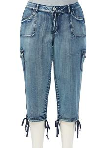 Side Tie Cropped Cargo Jeans - Plus