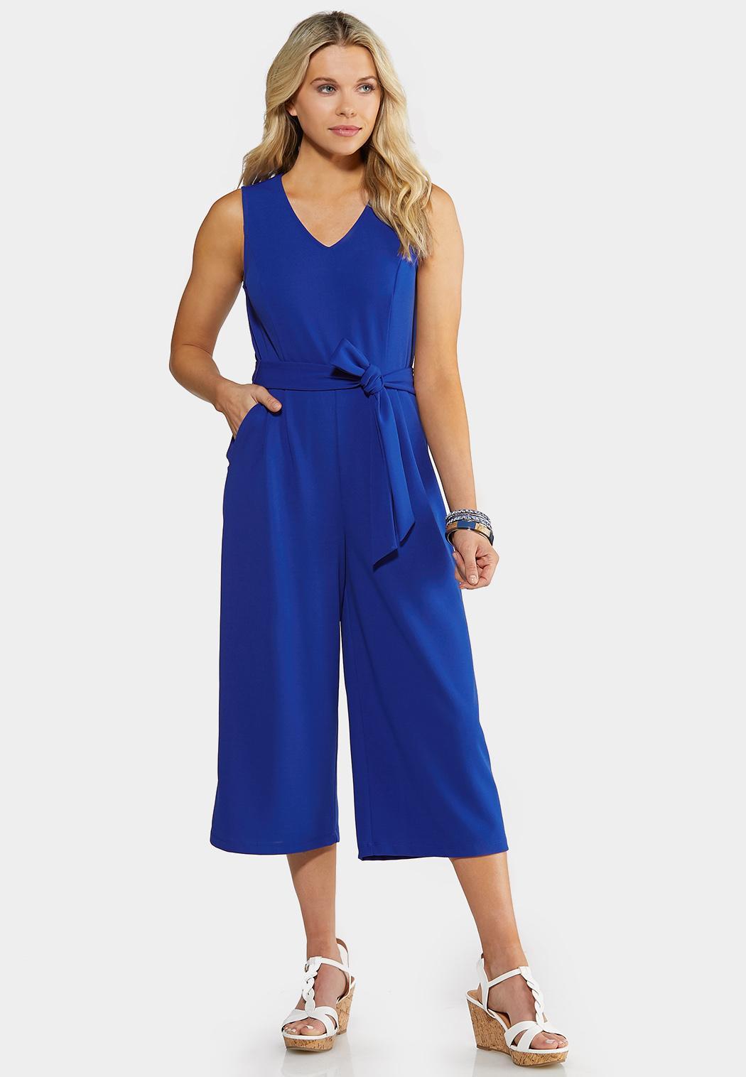 Plus Size Blue Tie Waist Jumpsuit Jumpsuits Cato Fashions