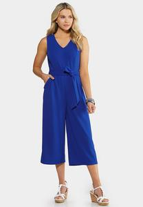 Plus Size  Blue Tie Waist Jumpsuit