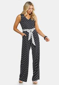 Navy Dot Print Jumpsuit