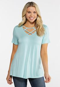 Plus Size Lattice Neck Swing Top