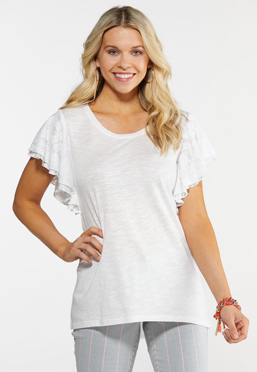 Plus Size Lacy Flutter Sleeve Knit Top