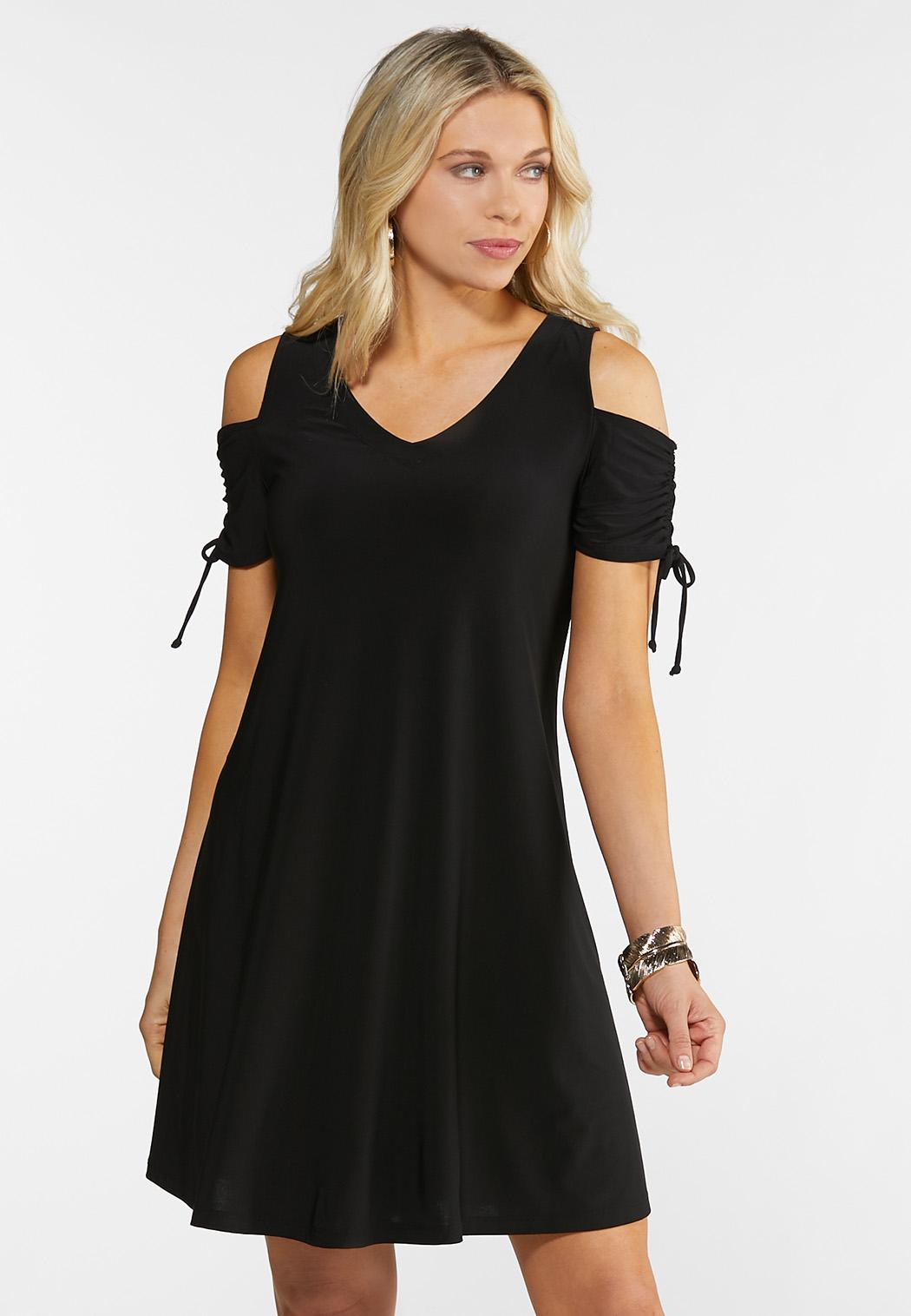 Plus Size Cinched Cold Shoulder Dress