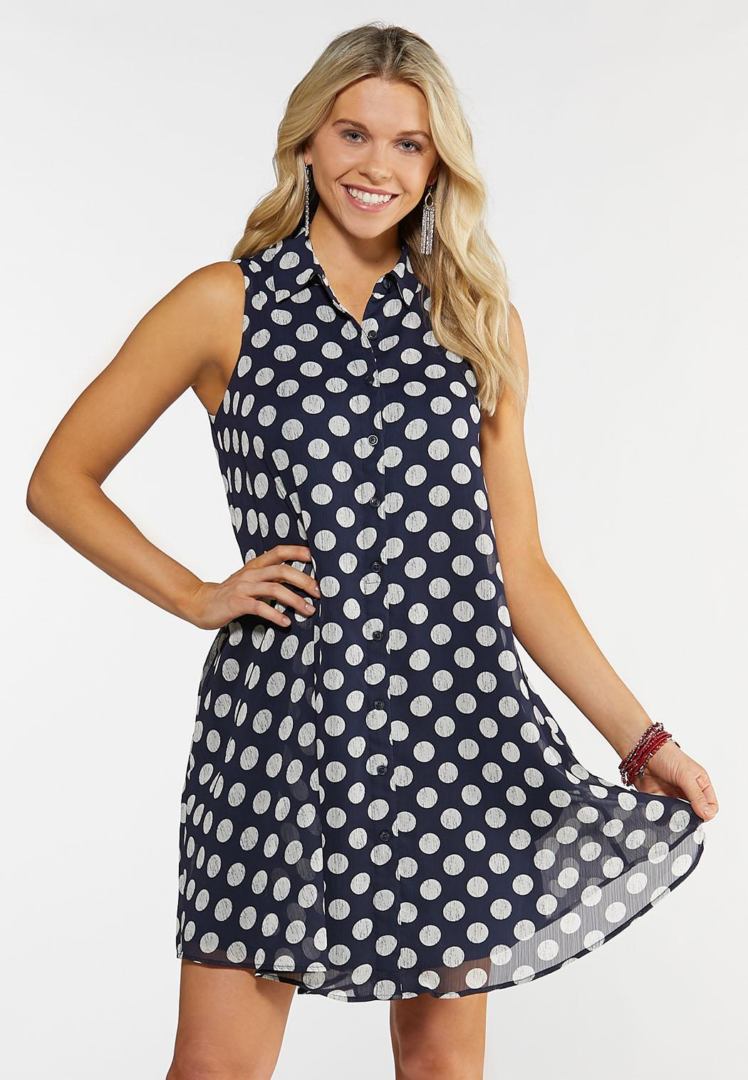 Navy Dotted Layered Dress