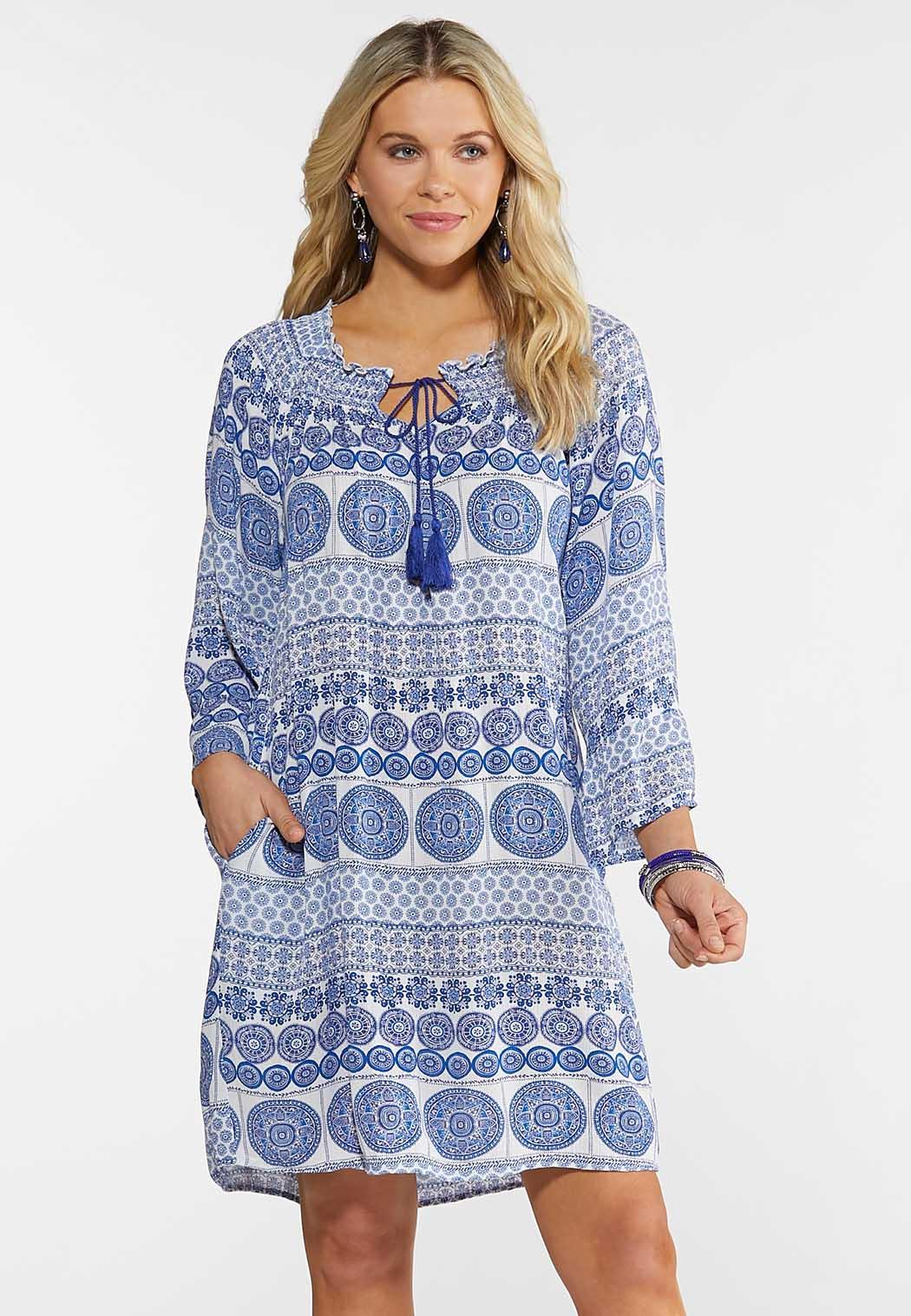 Smocked Tile Peasant Dress