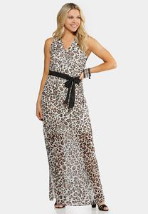 Plus Size Animal Print Maxi Dress