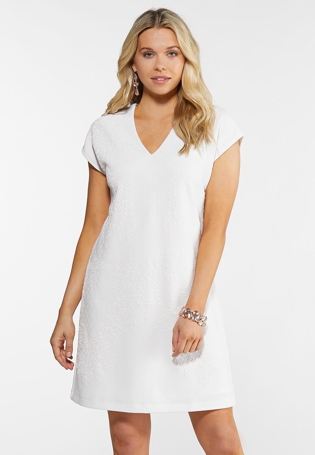 White Puff Print Shift Dress