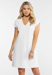 White Puff Print Shift Dress