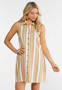 Plus Size Stripe Linen Shirt Dress