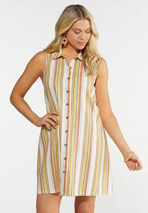 Plus Size Stripe Linen Shirt Dress